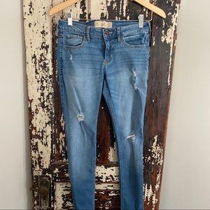 Distressed Hollister jeans.